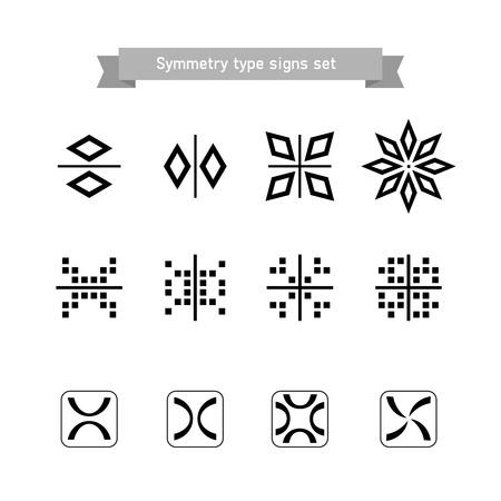 Symmetry type signs set Illustration