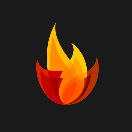 orange inferno: Fire vector sign. Colorful flame logo template.
