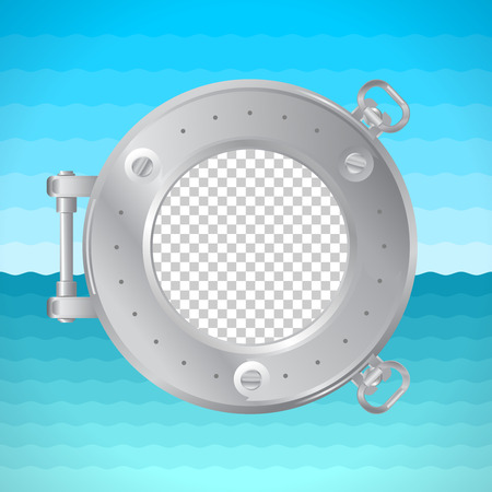 placeholder: Round frame porthole with photo placeholder. Naval theme.