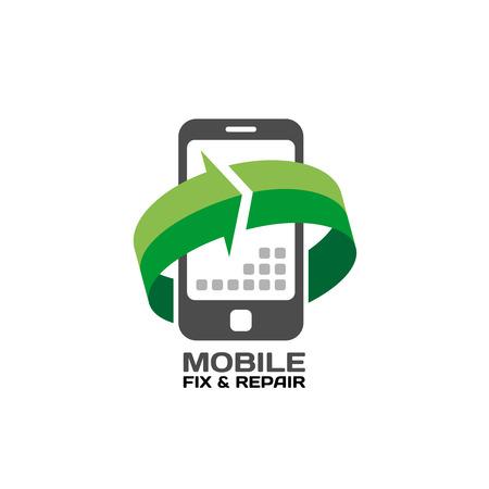 reciclar: Servicio de los dispositivos móviles y reparación logotipo de la plantilla Vectores