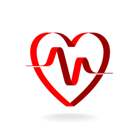 Heart with pulse ribbon logo template. Cardiology medical sign.