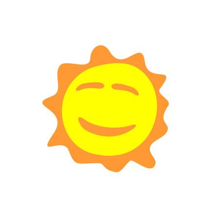 smiling sun: Sunshine fun sign. Smiling sun logo.