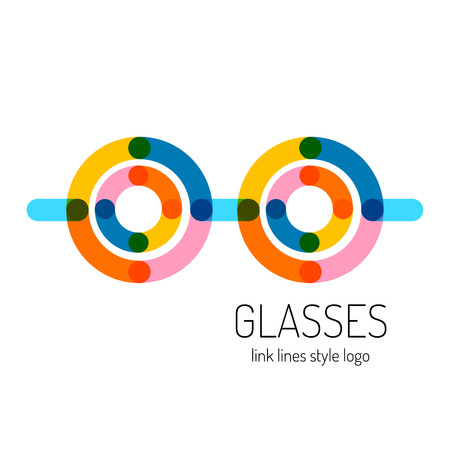 round logo: Glasses logo template. Round and straight transparent lines style.