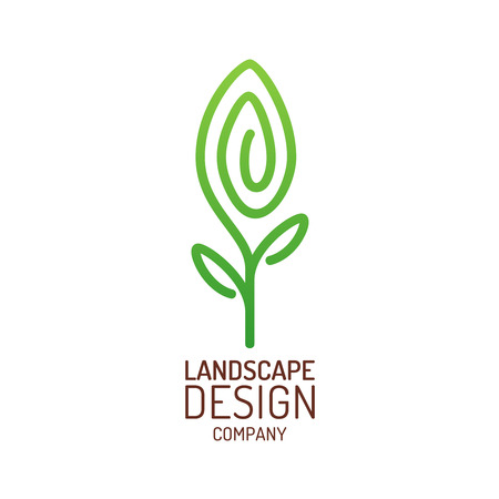 Landscape design logo template. Tree with leaves sign. Vettoriali