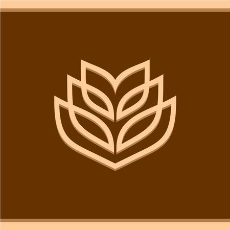 cosecha de trigo: Oído del trigo plantilla de logotipo técnica