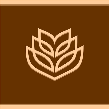 grain field: Wheat ear technical logo template