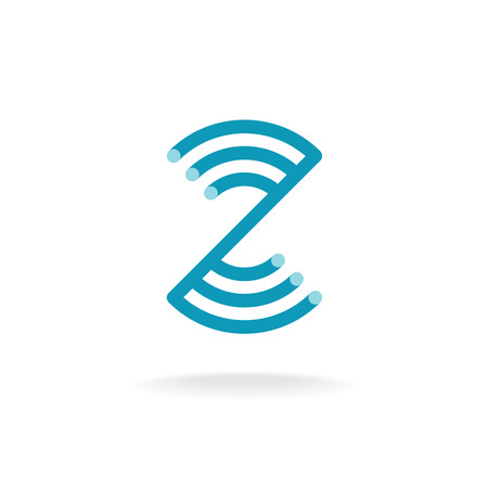 mounting: Letter Z technical logo template. Mounting round lines.