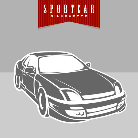 perspektiv: Sport car perspective silhouette view Illustration
