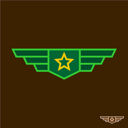 Military badge with wings chinese army sign Illustration