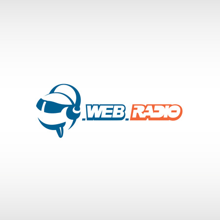 Internet radio logo template. Fun head with headphones and glasses.