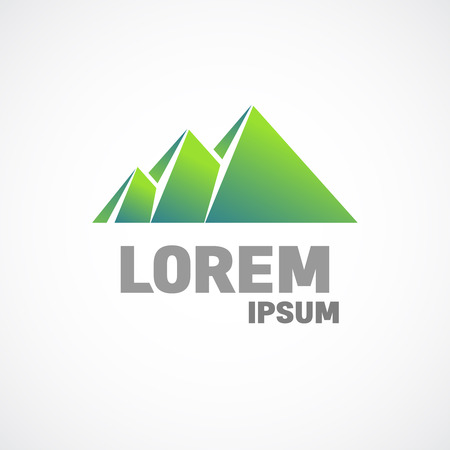 logotipo turismo: Montañas o pirámides logo plantilla. Signo fundamental. Vectores