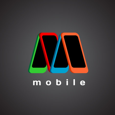 mobile devices: M letter logo template. Mobile devices store concept.