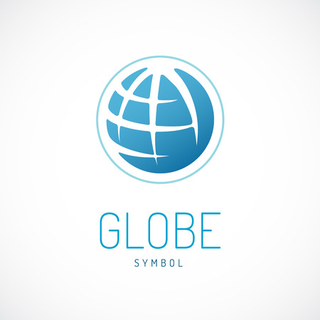 Earth logo template. Globe sign. Stock Illustratie