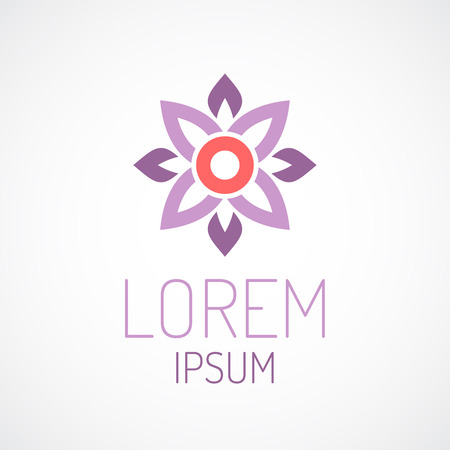 Puprle lotus flower top view geometrical logo template concept