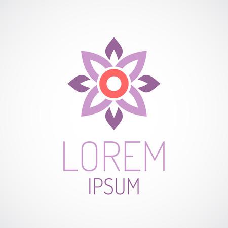 Puprle Lotusblume Draufsicht geometrischen Logo-Vorlage Konzept Standard-Bild - 41642664