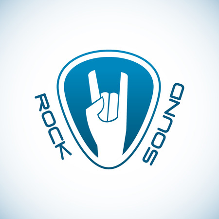plectrum: Rock hand logo template with plectrum shape background