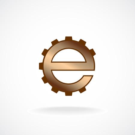 fix gear: E letter logo template. Gear technical concept.