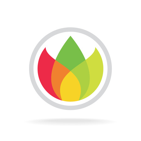 Three color leaves logo template. Floral ecology or tea concept. Transparency are flattened.