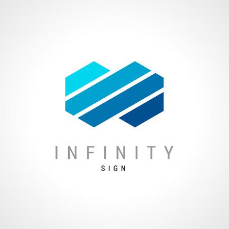 signo infinito: Infinity concepto plana doble hexagonal plantilla de logotipo. Vectores
