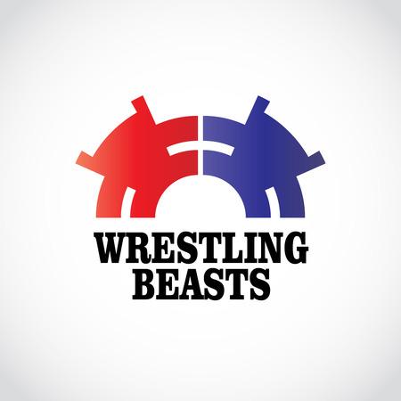 wrestling: Wrestling logo template. Two stomping bears.