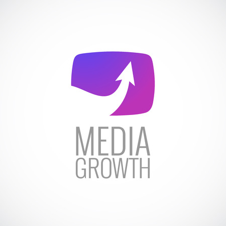 TV screen with arrow media logo template. Growth sign. Illustration