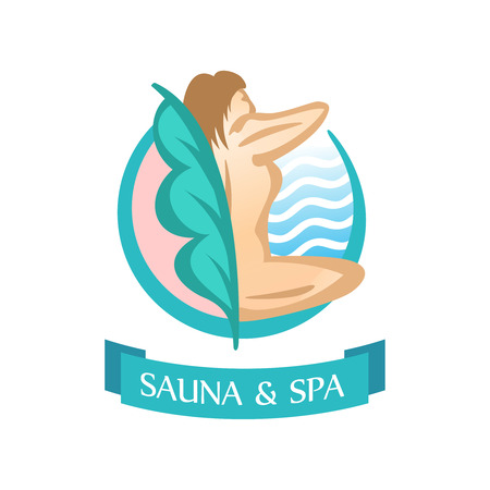beautify: Sauna and SPA logo template. Sitting woman silhouette.