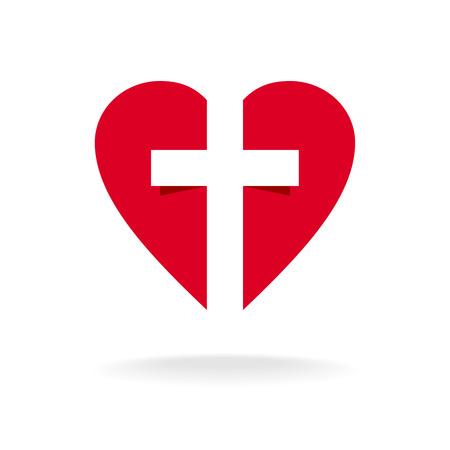 cruz roja: Corazón con la iglesia cruz logotipo de la plantilla Vectores
