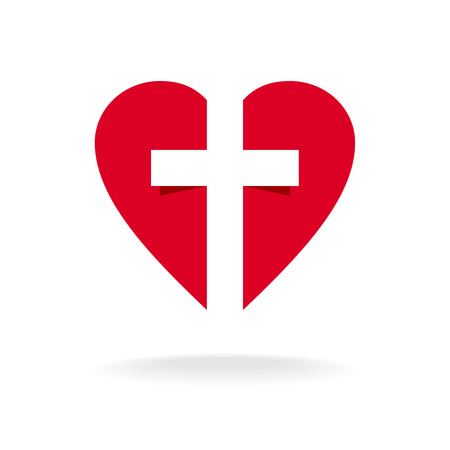 medical cross symbol: Heart with cross church logo template