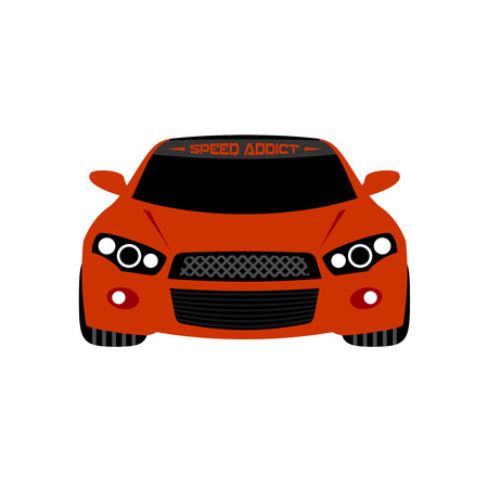 front car: Illustration of a red sport car with angel eyes headlights. Front view. Isolated on a white background.