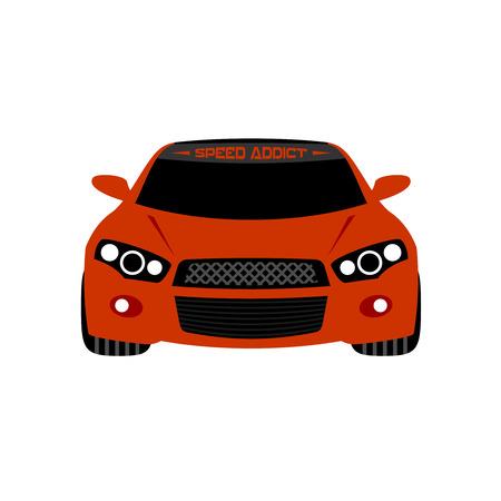 Ilustración de un coche deportivo de color rojo con angel eyes faros. Vista frontal. Aislado en un fondo blanco. Foto de archivo - 41906006