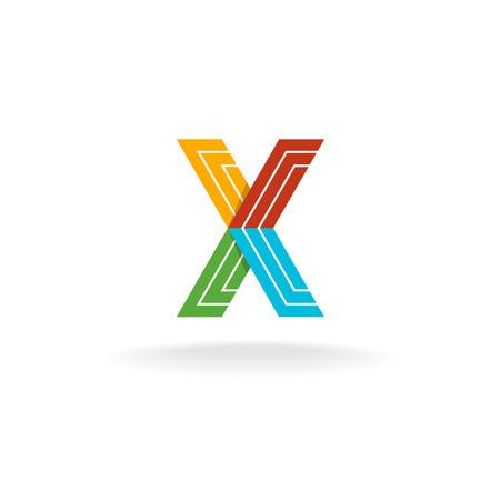 constructional: Letter X technology. Constructional flat plane elements concept. Illustration