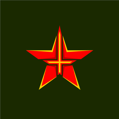 Military Star Symbol Red Star Shape Emblem With Cross Or Sword