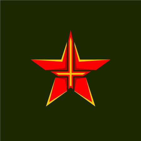 estrellas  de militares: Símbolo de la estrella militar. Forma de la estrella emblema rojo con la cruz o la espada dentro.