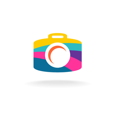 digital photo: Digital photo camera silhouette decorated with colorful smooth stripes