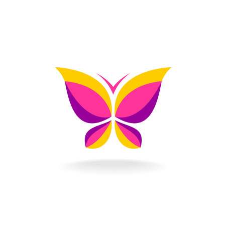 butterfly flower: Vivid colors butterfly. Smooth shape. Plain flat style colors. Illustration