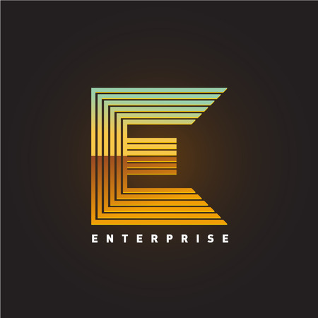 fonts 3d: Letter E template. Parallel lines style letter E sign on a dark background.