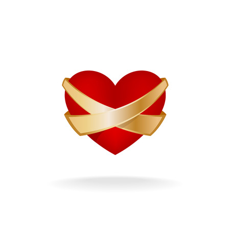 golden ribbons: Volume red heart symbol with two cross golden ribbons. Medical symbol of heart health protection.