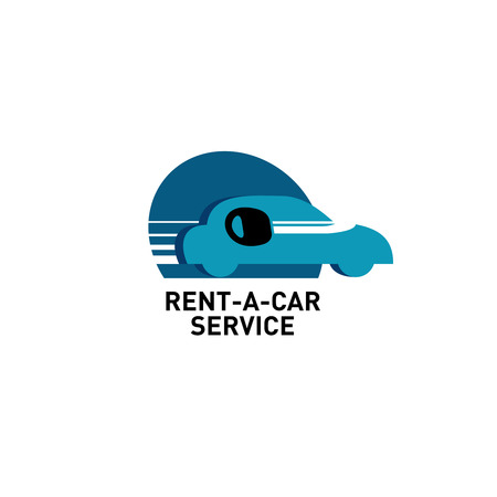 rental: Car rental. Silhouette of the car side view with motion lines and big key inside. Illustration