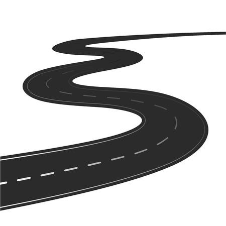 curvas: Winding ilustraci�n vectorial de carreteras aisladas sobre un fondo blanco