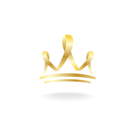 crown of light: Outline silhouette of golden ribbon crown sign. Luxury template.