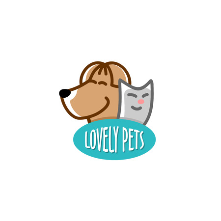 pet store: Petshop template. Heads of the funny smiling dog and cat. Illustration