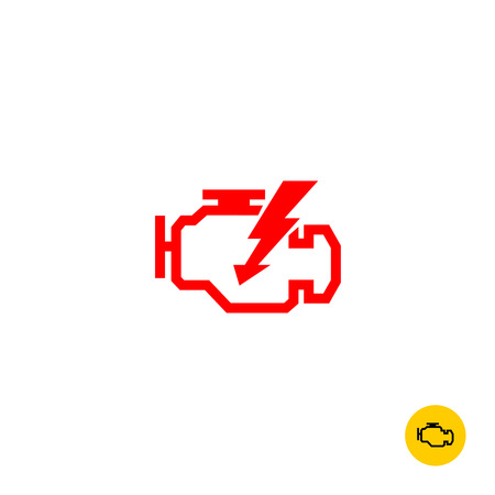 Check engine car symbol. Motor contour silhouette with lightning sign.