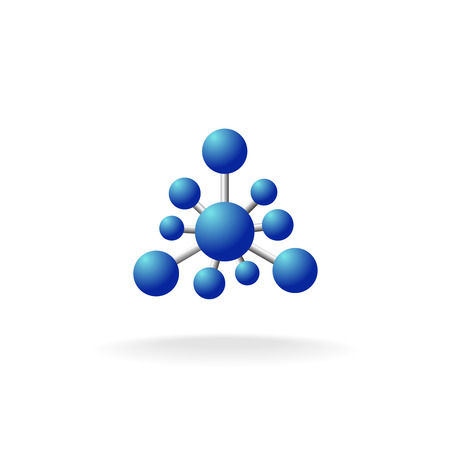 ion: Abstract molecular structure symbol with blue spheres and silver pins. Atom or ion sign.