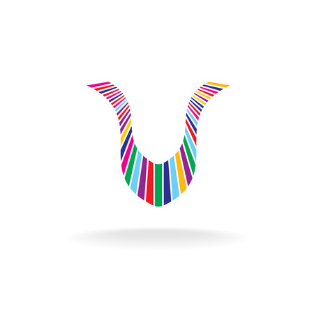 vivid colors: Letter U colorful. Shape from many directional vivid colors stripes.