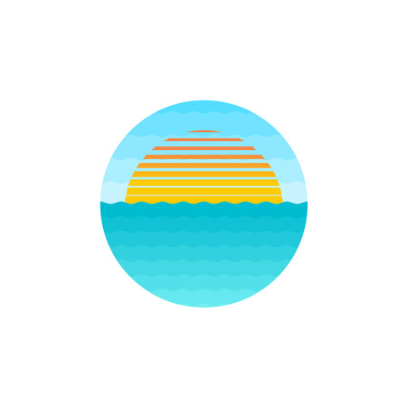 Rising sun at the sea surface round  イラスト・ベクター素材