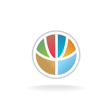 silhouette fleur: globe terrestre coloré de modèle de fleur stylisée. signe de la sphère 3D divisée par des lignes en tant que forme de la plante. Illustration