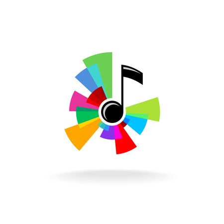 Musical note with colorful sectors centered burst