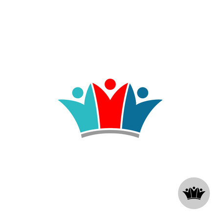 clan: Three people in a crown shape. Silhouette of human figures with rised up hands sign.