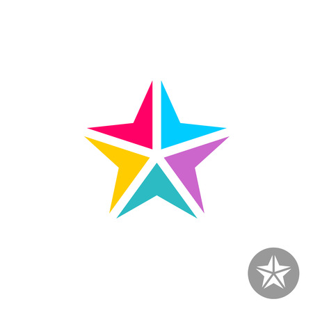 point: Colorful triangle geometric elements star template. Arrows to center point.