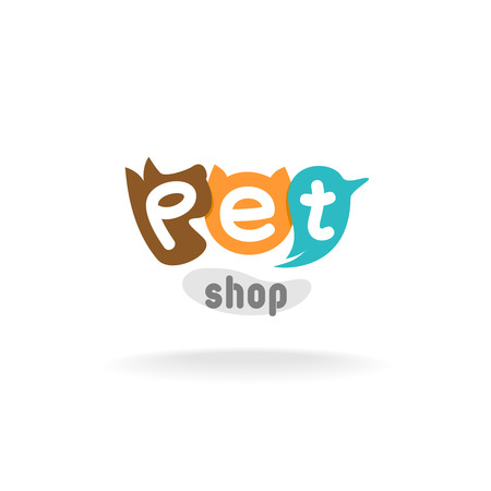 pets: Heads of brown dog, red cat and green blue parrot. Pet shop or store signboard.